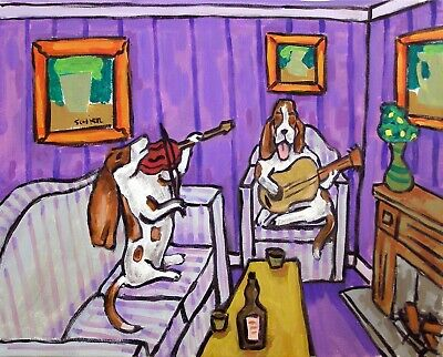 basset hound duo signed dog art print 8x10 music room decor