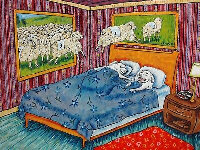 great pyrenees counting sheep signed dog art print 4x6