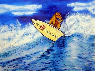 airedale terrier surfing signed dog art print 8x10