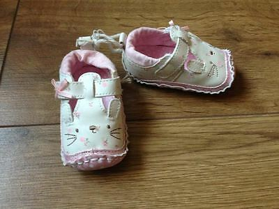 Baby Girls Bunny Pram Shoes From `matalan` - Age 3-6 Months