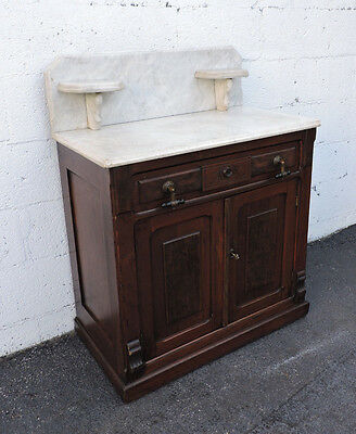 Early Victorian Eastlake Carved Marble-Top Wash Stand Cabinet 7811