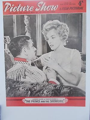 MARILYN MONROE oversize POSTCARD 1957 Pictuer Show cover with Laurence Olivier