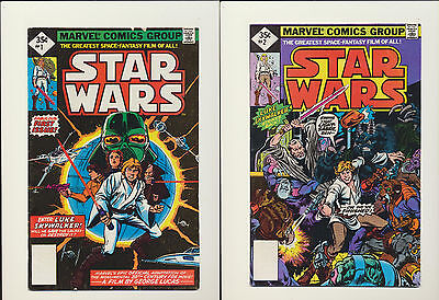 STAR WARS #1 #2 (Marvel 1977) 35 Cent Reprints! SEE SCANS! RARE KEY BOOKS! WOW!