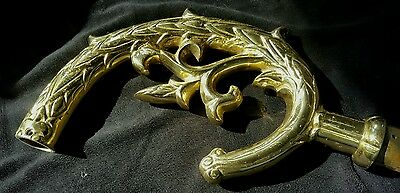 Large Solid Brass Acanthus Hardware Salvaged From Antique Headboard 4 Available