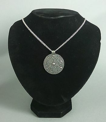 Large Viking Disc Pendant on Chain in Fine Pewter