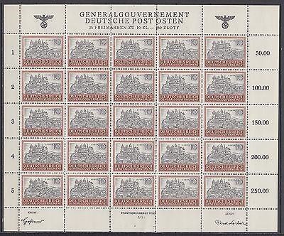 WWII Third Reich Occup. Generalgouvernement  Full Sheet Mi 116 MNH.Luxe