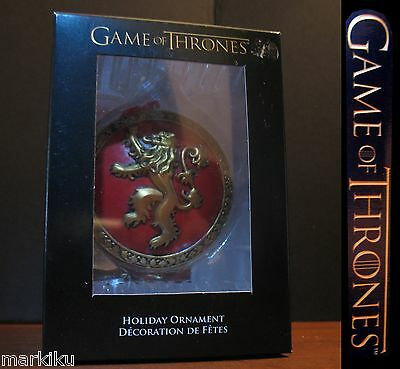 Game of Thrones Lion crest on red Christmas tree holiday ornament Kurt S Adler