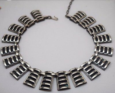 Vintage RENOIR Modernist geometric Abstract silver link NECKLACE