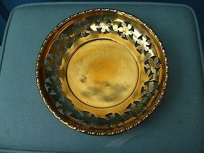 Brass Table Dish With Leaf Pattern