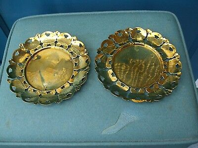 2 Brass Dishes With Butterfly Pattern