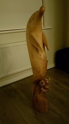 Wooden Dolphin Statue