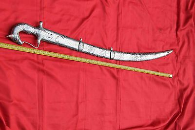 Antique  Indo-Persian Mughal Islamic Silver Damascened Horse Head Shamshir Sword