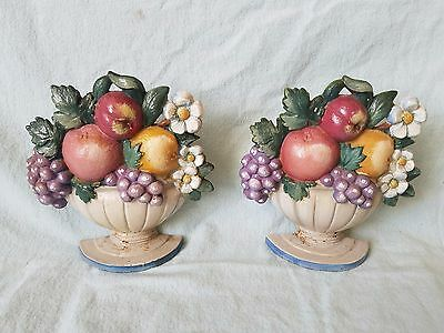 Pair of Donson Co John Wright Cast in U.S.A. Book Ends Hand Painted Fruit Bowl