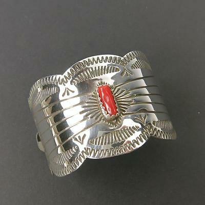 Native American Navajo Sterling Silver Red Coral Pony Tail Clasp Hair Barrette 1