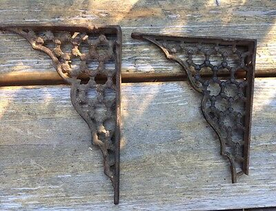 2 Antique Vintage Cast Iron Shelf Brackets, Ornate with a great Rusty Patina