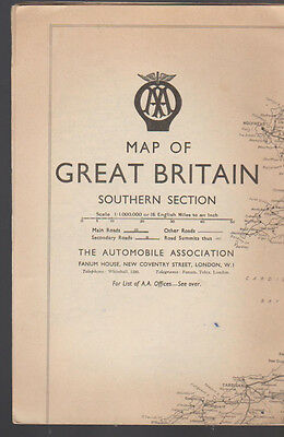 Map of Great Britain Southern Section 1951 Automobile Association