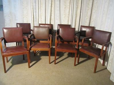 Set of 8 Oak & Leather Boardroom or Dining Chairs by Heals