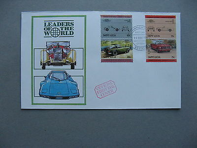 ST LUCIA, cover FDC 1984, pairs car TVR Vixen Ford Mustang