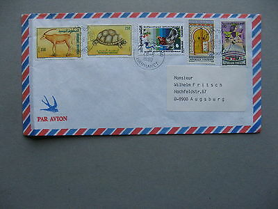 TUNISIA, cover to Germany 1990, rich franking ao turtle chicken egg