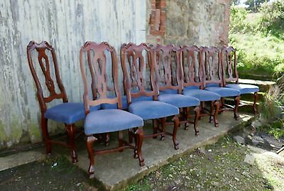 Set of 12 French Mahogany High Back Dining Chairs