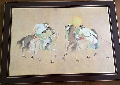 """SET of 4 10""""x14"""" PLACEMATS/HOT PADS - CHINESE POLO PLAYERS - made in England"""