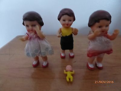 3 Vintage small dolls 7 cm in original clothes & very small baby doll 2.5 cm