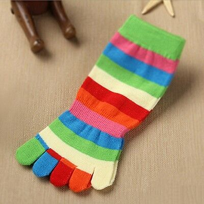 New Child Toe Sock Boys Girls Cute Striped Soft Warmer Five Fingers Socks Random