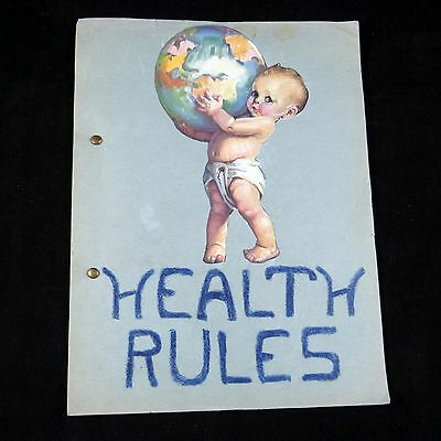 "Vintage ca.1930 Girl's Scrapbook School Project ""Healthy Rules"" Depression Era"