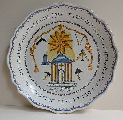 Vintage Masonic Pottery Plate French ? Signed/Backstamped