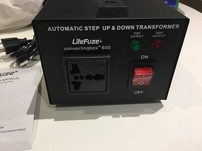 LiteFuze Convertingbox 600 Auto Step Up & Down 120/220 Voltage Transformer NEW