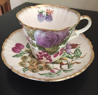 Vinage Royal Standard Fine Bone China Fruit Pattern Teacup & Saucer, England