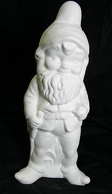 Ready to Paint Ceramic Bisque - Medium Garden Gnome Standing with Stick