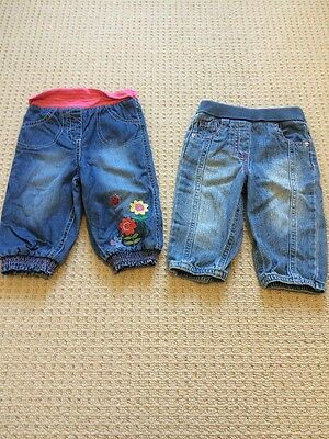 Marks & Spencer Baby Girls Slouch Crawling Jeans X 2 9-12 Months