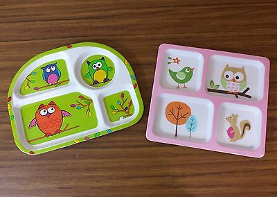 Kids Divided Melamine Plates Owls Animals - Set of 2