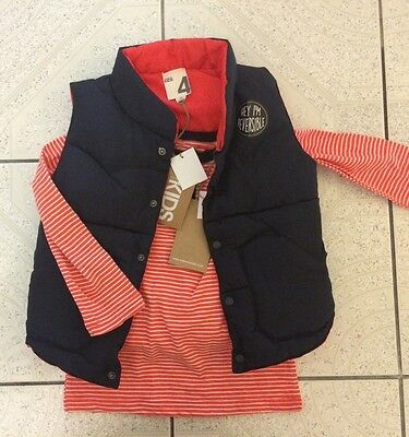 Brand new boys toddler two piece vest jacket and top size 4