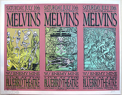 THE MELVINS Original 1999 UNCUT SIGNED ARTIST PROOF - Triptych Concert Poster