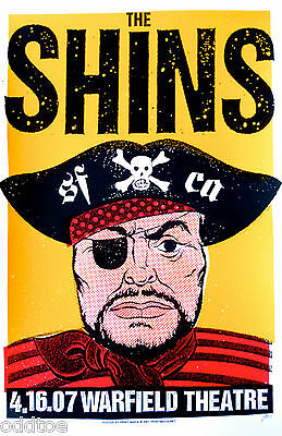 THE SHINS, Orig Concert Poster S/N Print Mafia, Warfield, Patchy The Pirate, MNT