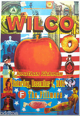WILCO- Orig. 2001 Concert Poster by Ben Fishman, Fillmore F497, JONATHAN RICHMAN