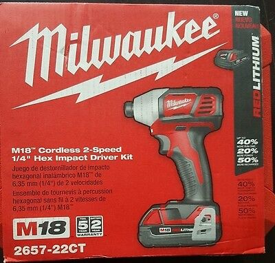 """PRO Milwaukee 2657-22CT M18 Red 2-Speed 1/4"""" 18 volt Hex Impact Driver Kit NEW"""