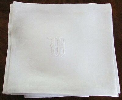 5 Vintage Antique Large White Damask Linen Dinner Napkins Ex-Cond Monog