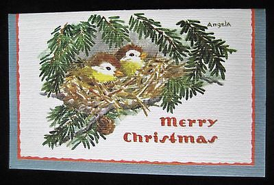 Vintage Christmas Greeting Card Yellow Breasted Chat in Nest Artist, Angela.