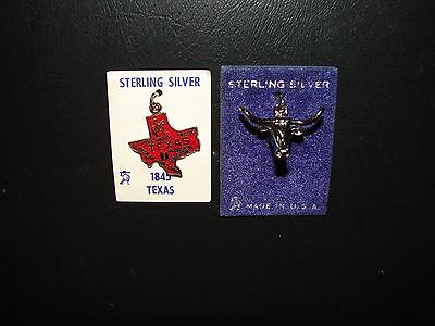 2 Texas Sterling Silver .925 Charms TX. Map & Longhorn