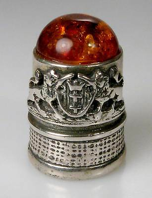 thimble sterling silver municipal coat of arms Gdansk amber top Poland