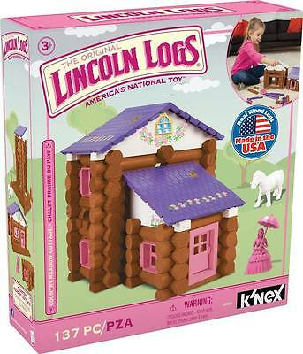 NEW Pink LINCOLN LOGS Country Meadow Cottage 137 pc Real Wood Pony Storage Box