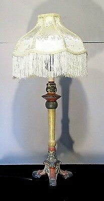 Vintage Style Table Lamp Light With Shade Fringed Rose Gray Decorative