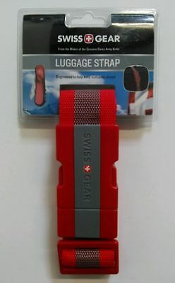 """Swiss Gear Webbed Luggage Strap Red & Gray, Fits Bags up to 72""""- New NWT!"""