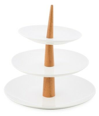 NEW 'CASA UNO' 3 Tier Round Porcelain Cake Stand with Bamboo Handle RRP$94