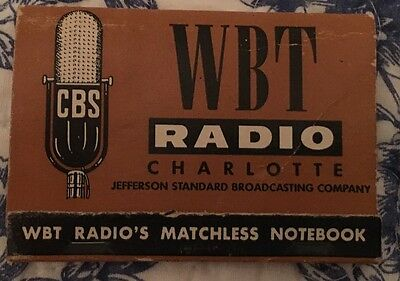 Wbt Radio Charlotte Advertising Matchless Notebook 1957