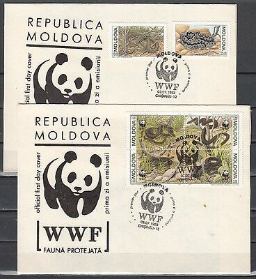 * Moldova, Scott cat. 72-74. World Wildlife Fund issues on a First day cover.