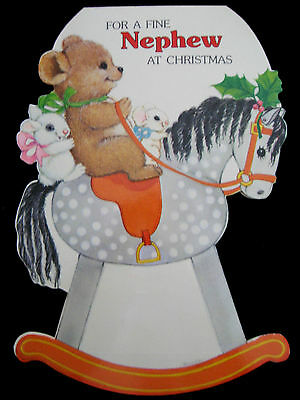 Vintage Christmas Greeting Card Stand Up Chrome Die Cut Embossed Rocking Horse.